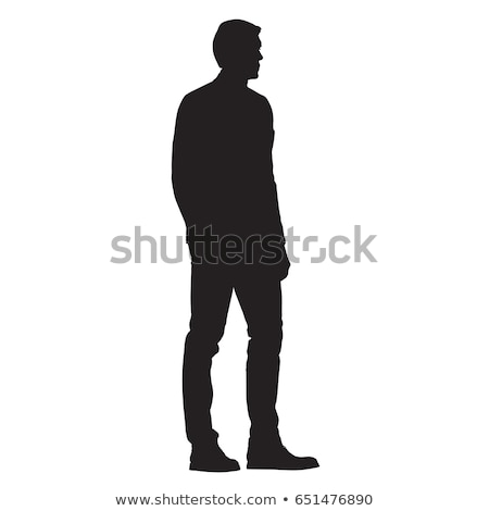 Foto stock: Lado · homem · de · negócios · em · pé · mãos · vista · lateral · sorridente