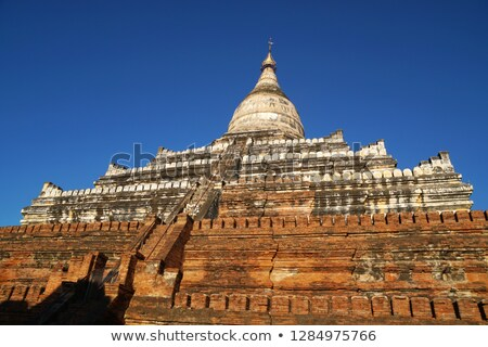 Cúpula pagode Mianmar birmânia pôr do sol paisagem Foto stock © Mikko