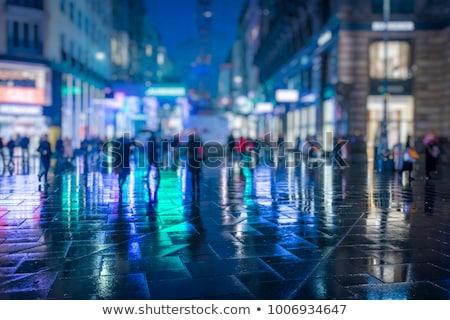 Multidão pessoas caminhada noite da cidade abstrato tecnologia Foto stock © zurijeta