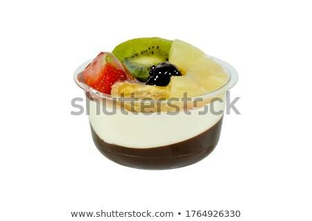 Tigela cremoso pudim frutas frescas comida fruto Foto stock © Digifoodstock