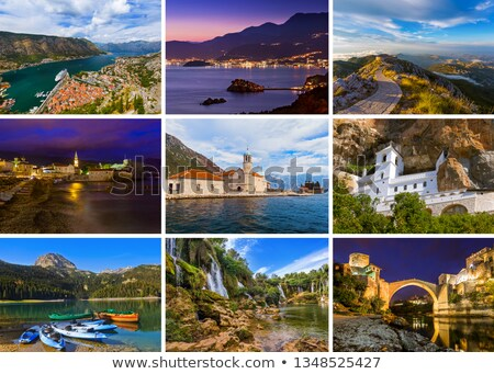 The collage of Sveti Stefan island in Montenegro Stock photo © master1305