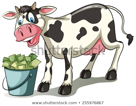 A cow watching the pail Stock photo © bluering