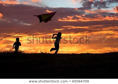 Irmãs pipa pôr do sol ilustração natureza meninas Foto stock © adrenalina