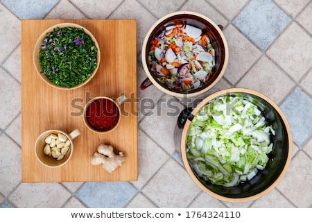 葉 · まな板 · ほうれん草 · 食品 · 木材 · 背景 - ストックフォト © digifoodstock