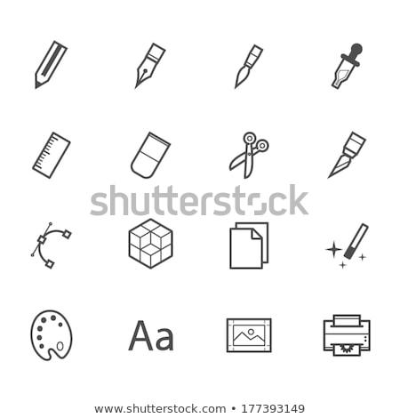 fax · icon · stijl · Rood · kantoor · papier - stockfoto © nickylarson974