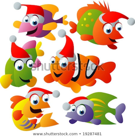 clown · poissons · isolé · blanche - photo stock © adrenalina