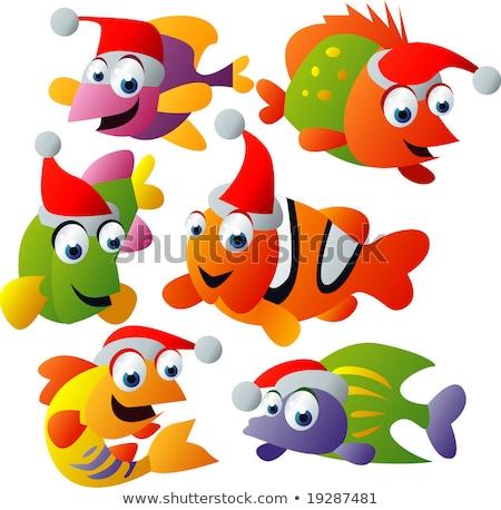 Сток-фото: клоуна · рыбы · Рождества · иллюстрация · воды · любви