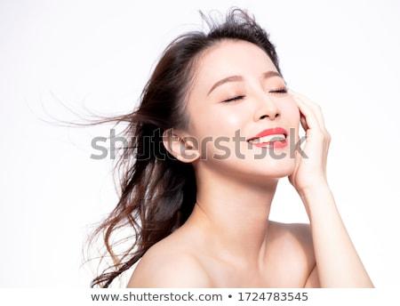 Güzel bir kadın kadın kırmızı ruj yüz gözler arka plan Stok fotoğraf © racoolstudio