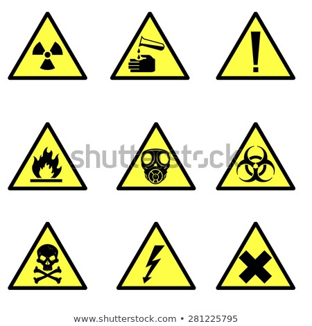 set sign biohazard toxicity dangerous yellow signs of various stock photo © popaukropa