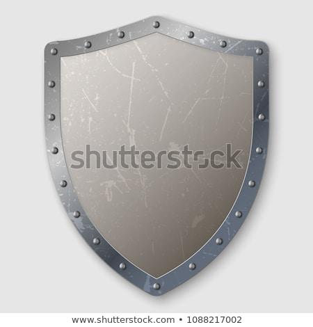 Középkori sablon ezüst pajzs szalag illusztráció Stock fotó © bluering