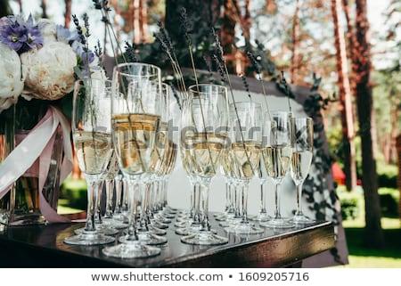 очки белый шампанского украшенный лаванды расплывчатый Сток-фото © Yatsenko
