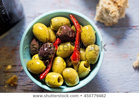 olívaolaj · vegyes · olajbogyók · friss · rozmaring · étel - stock fotó © monkey_business