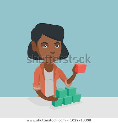 Woman building pyramid of network avatars. Stock photo © RAStudio