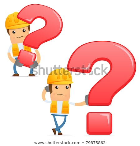 Thinking builder with question mark. Stock photo © RAStudio