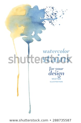 yellow and blue watercolor stain background with dripping effect Stock photo © SArts