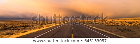 Storm Brews over Two Lane Highway At Sunset Stock photo © cboswell