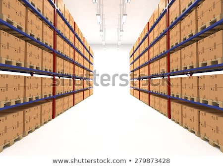 warehouse shelves filled with boxes stock photo © pakete