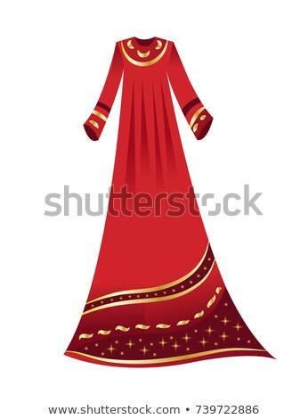 Arab moslim vrouw Rood hijab gelukkig Stockfoto © NikoDzhi