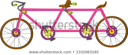 Classic old retro romantic tandem bicycle with balloons vector i Stock photo © NikoDzhi