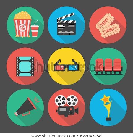 Stílus szett mozi ikon vektor izolált Stock fotó © curiosity