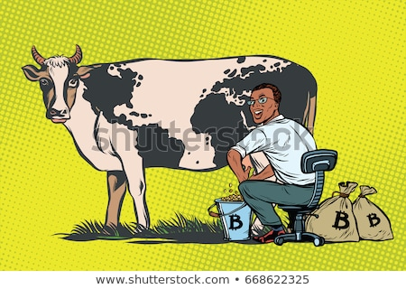 African businessman mines bitcoins milking a cow, world business Stock photo © studiostoks