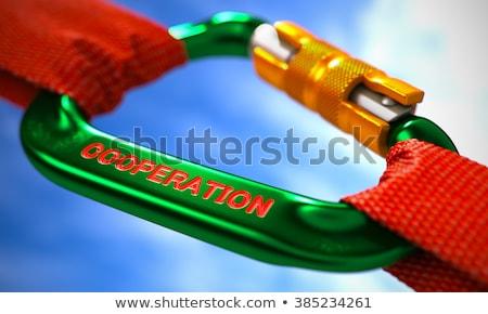 green carabiner hook with text cooperation stock photo © tashatuvango