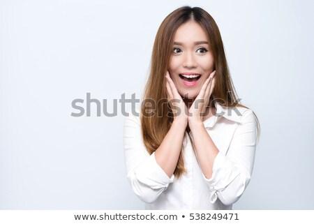 驚いた アジア 女性 オープン 口 女性 ストックフォト © palangsi