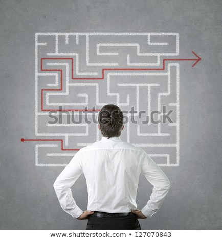 Businessman looking at labyrinth with solution Stock photo © RAStudio
