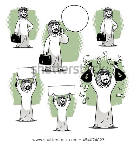 Arap · adam · konuşma · telefon · vektör · yalıtılmış - stok fotoğraf © rastudio
