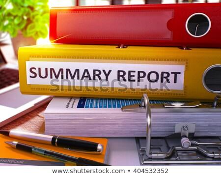 黄色 オフィス フォルダ 碑文 要約 レポート ストックフォト © tashatuvango