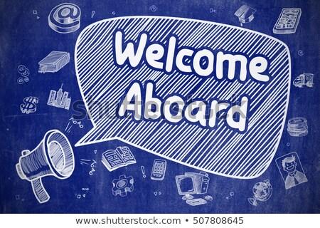 üdvözlet firka illusztráció kék tábla szövegbuborék Stock fotó © tashatuvango