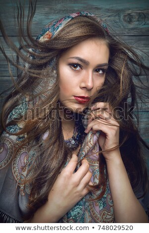 beautiful girl with bright makeup in russian shawl Stock photo © svetography