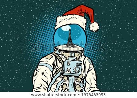 Noel astronot düşler Paris pop art Retro Stok fotoğraf © studiostoks