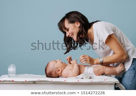 Kid Baby Girl Mom Change Diaper Stock photo © lenm