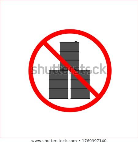Foto stock: Stop Oil Barrel Fuel Is Forbidden Frozen Barrel Red Forbidden