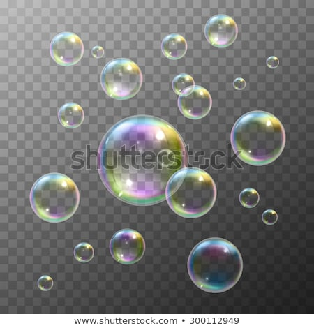 Rainbow soap bubble on a transparent background. Vector illustration Stock photo © m_pavlov