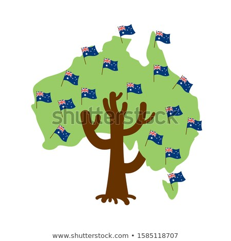 Patriotic tree Australia map. Australian flag. National politica Stock photo © popaukropa