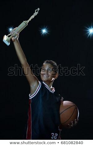 Cień chłopca trofeum zwycięzca piłka stałego Zdjęcia stock © IS2