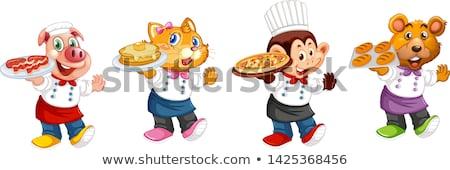 Chef Pig Cartoon Character Menu  Stock photo © Krisdog