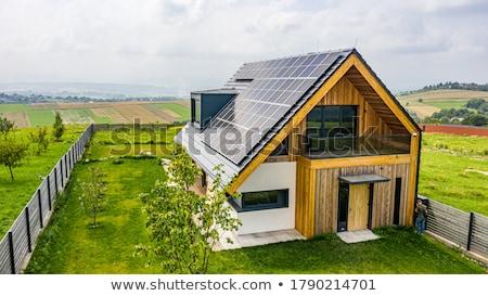 öko ház kinyitott kéz tart zöld levél Stock fotó © psychoshadow