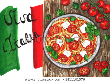 Italian cuisine poster design with different plates Stock photo © bluering