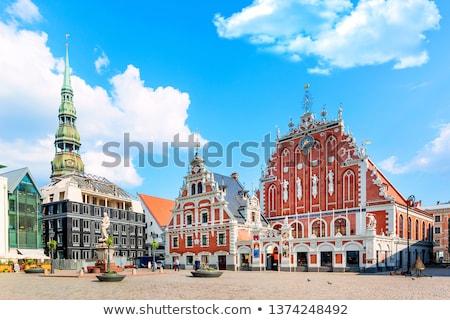 Ev Riga Letonya saat sokak kilise Stok fotoğraf © benkrut