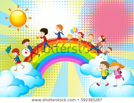 Children playing music over the rainbow Stock photo © bluering
