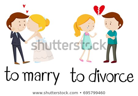 Opposé mots divorce illustration mariage amour Photo stock © bluering