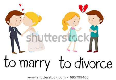 felirat · válás · nő · férfi · pár · törvény - stock fotó © bluering