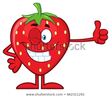 Căpşună fruct mascota de desene animate deget mare Imagine de stoc © hittoon