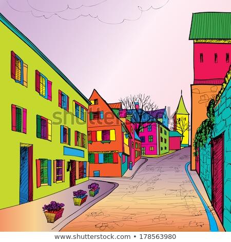 oude · binnenstad · skyline · voetganger · uitzicht · op · straat · oude · stad - stockfoto © terriana