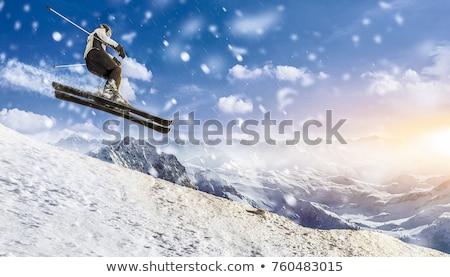 Człowiek narciarz zimą ilustracja sportu śniegu Zdjęcia stock © adrenalina