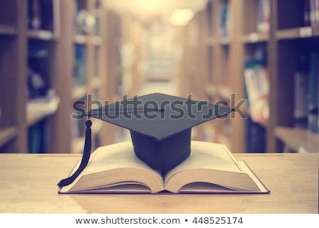 Doktorátus sapka könyv illusztráció fehér terv Stock fotó © get4net