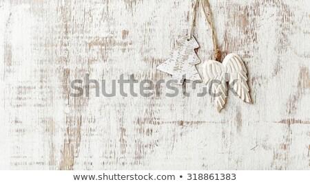 Houten engel christmas decoratie witte speelgoed Stockfoto © sqback